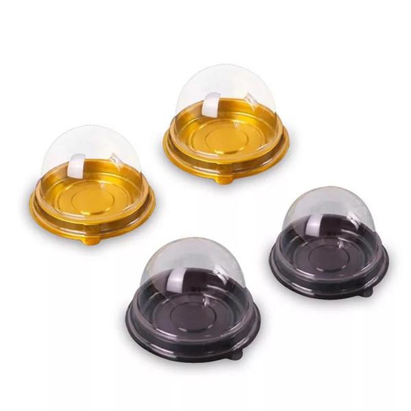 50 conjuntos = 100 pcs Mini Tamanho BlackGold Inferior Plástico Cupcake Bolo Cúpula Recipiente Do Favor Do Casamento Caixas de Cupcake Caixas Suprimentos