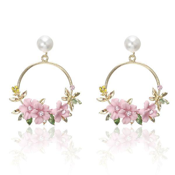 Korean Style Flower Hoop Earrings For Women Golden Color Round Circle Crystal Earrings Gift For Wedding Jewelry