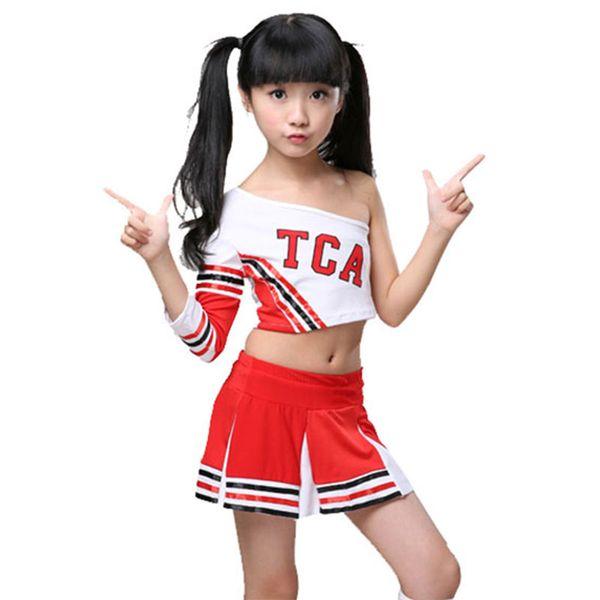 Concorrência das crianças Cheerleaders Da Equipe Da Escola Uniformes KidS Kid Desempenho Traje Conjuntos de Meninas Terno da Classe Da Menina Da Escola Ternos