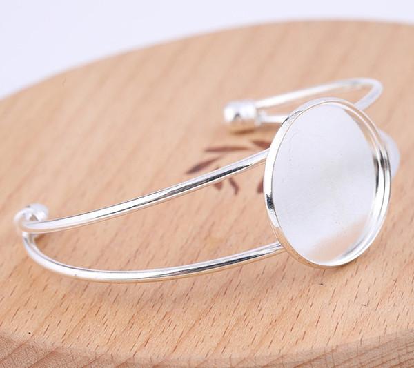Shukaki Gümüş Kaplama Metal Cuff Bilezik Baz Boşluklar takılması 25mm Yuvarlak Cabochon Bezel Ayarları Diy Takı Aksesuar