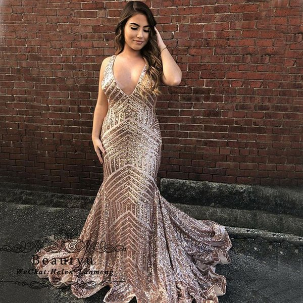 Glitter Sequined Long Prom Dresses 2019 Rose Gold V Neck Backless Plus Size African Arabic Formal Party Evening Gowns Robe de soiree