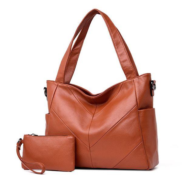 2019 Fashion 2 Sets Brand Big Leather Tote Bags Female Casual Large Capacity Shulder Bag Women Handbag High Quality Composite Bag Sac A Main