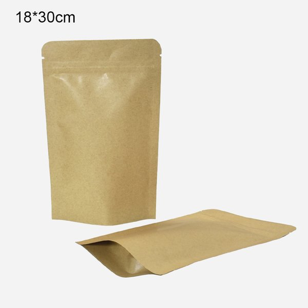 18*30cm 50Pcs Aluminum Foil Resealable Kraft Paper Packing Pack Bag Food Valve Stand Up Mylar Foil Reusable Packing Pouches for Dried Food