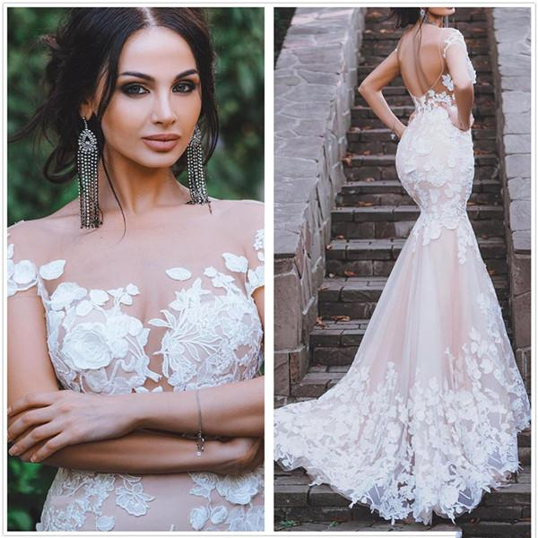 2020 Garden Wedding Dresses Mermaid Sheer Neck Lace 3d Applique