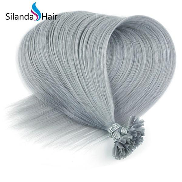 Silanda Hair Dark Grey Straight 100% Remy Human Hair U-tip Nail Tip Hair Extensions 50 strands/pack Free Shipping