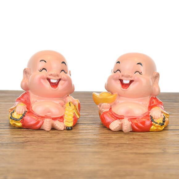 Yuanbao Copper Money Laughing Buddha Lucky Car Decoration Creative Home Resin Small Decoration Auspicious Meng Crafts