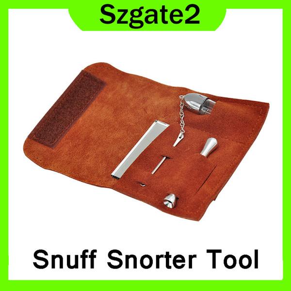 Snuff Snorter Tool Accessori per tubi da fumo Borsa per tabacco Borsa per sneaker in pelle scamosciata portatile Sniffer Snorter Dispenser per polvere per tubi 0266250-2