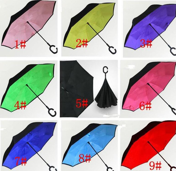 best selling C-Hand Reverse Umbrellas Double Layer Inverted Umbrella Inside Out Self Stand Windproof Umbrella