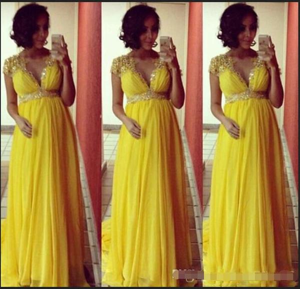 Bright Yellow maniche corte vestiti da sera chiffoni lunghi per incinte donne di maternità partito convenzionale promenade perline di cristallo Empire Sash