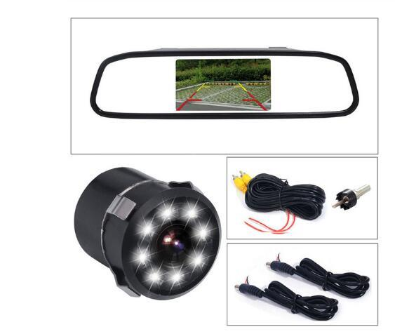 Yeni 4.3 inç Araba Dikiz Aynası Monitör Oto Park Vedio + LED Gece Görüş Yedekleme Ters Kamera CCD Araba Dikiz kamera