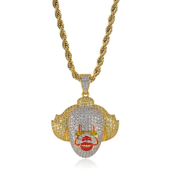 Nuevo 18K chapado en oro multicolor CZ Zirconia Clown Clown colgante collar cadena Twist Hip Hop Cosplay Party joyería regalos para hombres y mujeres