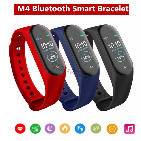 M4 Smart Bracelet Band Fitness Tracker Heart Rate Blood Pressure Messages Reminder Color Screen Sports Wristband PK Mi band 4 M3 ID115 Plus