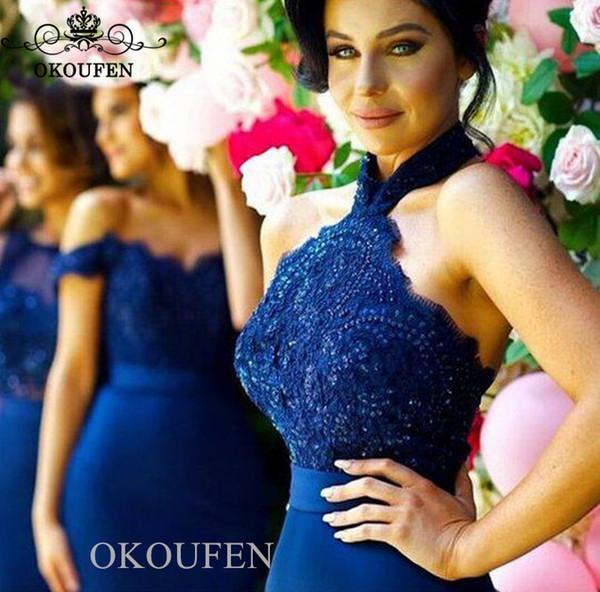 Royal Blue Mermaid Подружки Невесты с Аппликации Бисер Lace Top атласная юбка женщин Длинные горничной честь платье для свадьбы