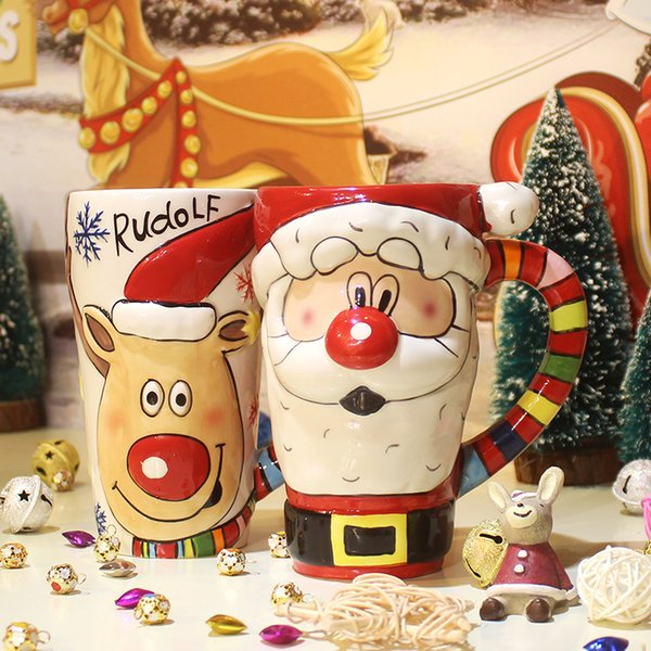 600ml Hand Painted Mugs Santa Claus Ceramic Cups Creative Christmas Gifts with Large Capped Water Cups