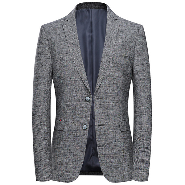 Plaid Blazer 2019 Fashion Mens Single Breasted Slim Fit Blazer Masculino Business Casual Autumn Suit Jacket Grey