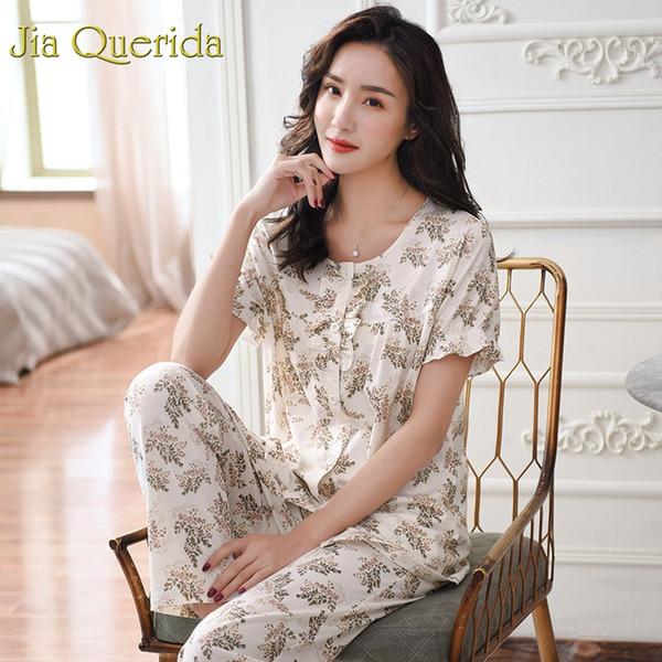 JQ женская пижама 100% хлопок пижамы 2019 мода высокое качество плюшевые пижамы цветочные печати короткие рукава длинные брюки Pj набор