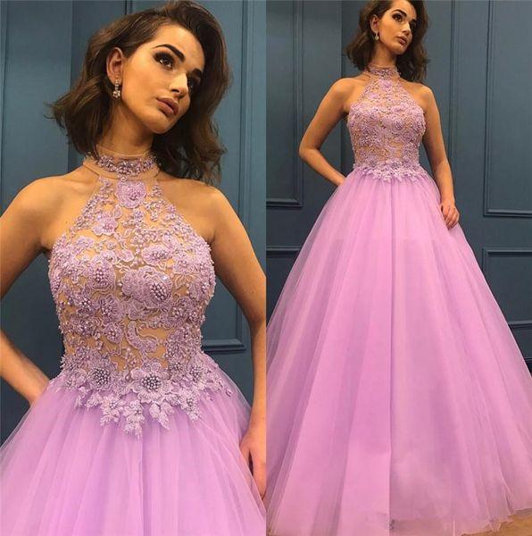 Sexy Backless Halter Plus Size Prom Dresses 2019 Eine Linie Pailletten Perlen Lila Tüll Afrikanische Arabische Mädchen Formale Graduation Abendkleider