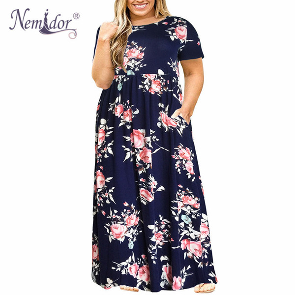 Nemidor 2019 Hot Sales Women O-neck Long Sleeve Long Summer Casual Dress Plus Size 7XL 8XL 9XL Vintage Maxi Dress With Pockets Y19042401