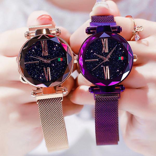 Роскошная розовое золото Женщина браслет Часы Минимализм Звездного небо магнит пряжка мода часы циферблат римские цифры Ladies