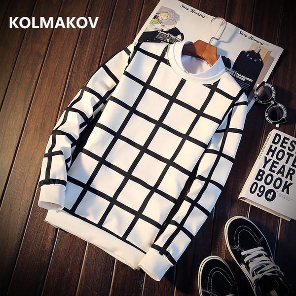 2019 İlkbahar Sonbahar Hoodies Moda Ekose Tişörtü erkek Kazaklar Slim Fit Casual Kapşonlu Tişörtü Erkekler Giyim boyut M-5XL