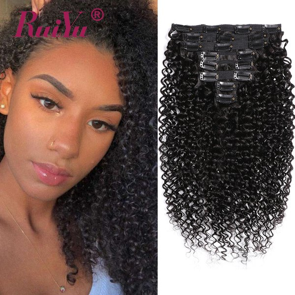 Clip di capelli ricci vergini brasiliani crespi in estensioni di capelli umani colore naturale 8 pezzi / set clip ins bundle testa piena 10