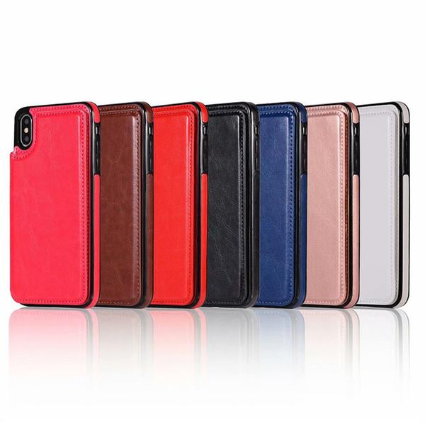 Para el iPhone Xs Max Xr S10 Lite 9 8 Plus Funda con monedero de lujo PU de cuero del teléfono celular Volver Funda con ranuras para tarjetas de crédito