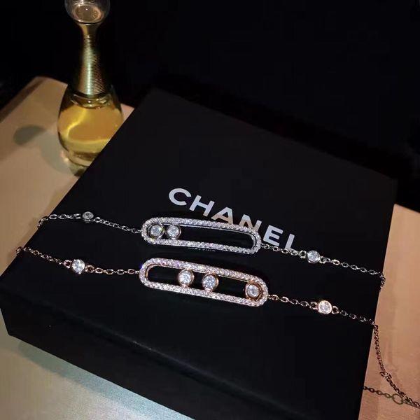 Designer Bracelet Necklace Paris Independent Designer 2019 Luxury Fashion Accessories K Gold Studded Diamond Bracelet in Sterling Silver