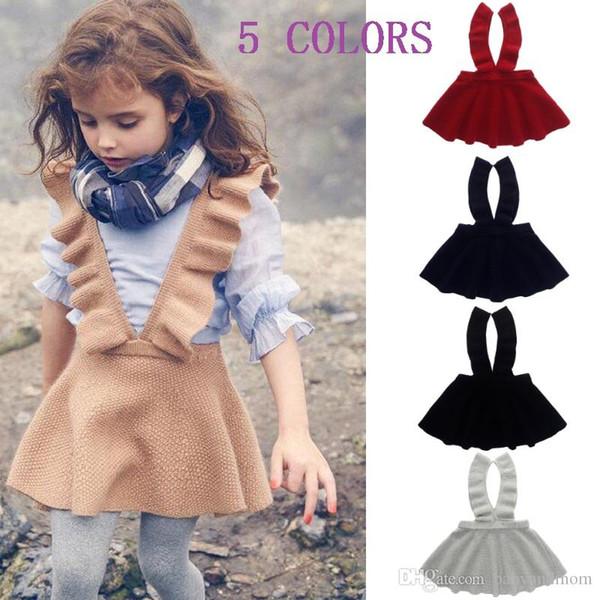 5 Colors Girls Sweater Dress Kids Clothing Fall Autumn Winter Dress Fashion Sleeveless Princess Suspender skirt Dress