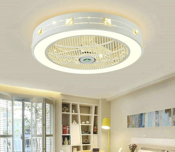 Modern LED Ceiling Fans With Lights For Living Room 220V Cooling Ventilador Round Ceiling Fan Lamp With Remote Control LLFA