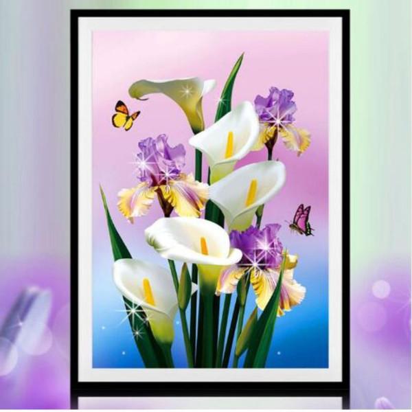Yuvarlak Parsiyel Elmas Nakış Taklidi 5D DIY Elmas Boyama Çapraz Dikiş Hediye Parti Dekorasyon Çiçekler Ev Dekor