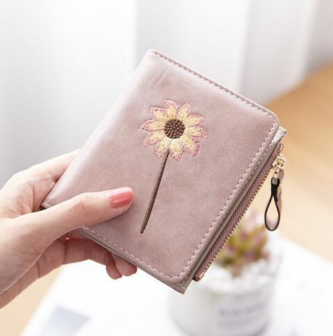 ETya Vintage embroidery Flower women leather Pu fashion short small coin purse was coin holder credit card bag case