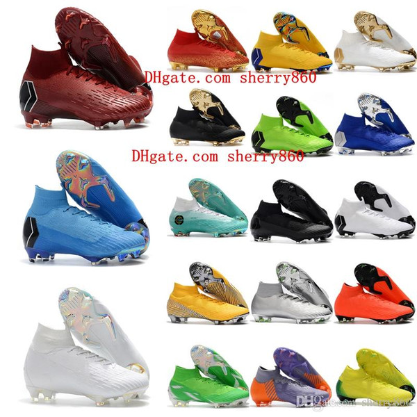 95b3f1da048a2 2018 Top Quality Mens Soccer Cleats Mercurial Superfly VI 360 Elite Neymar  Ronaldo FG Soccer Shoes SuperflyX VI CR7 High Ankle