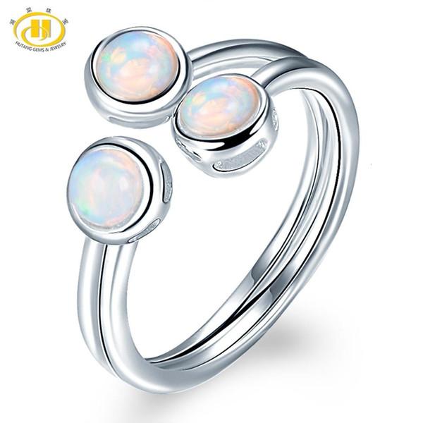 Anello di Hutang Opal donne naturale, l'argento sterlina 925 di fidanzamento Anelli aperti, Gemma Fine Jewelry 3 Pietra Classic Design CJ191205
