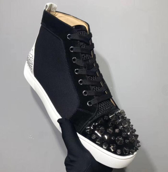 New Original Red bottom sneakers men with Spikes Athletic shoe black Net hole fashion mens casual shoes men leisure footwear Trainers 35--47