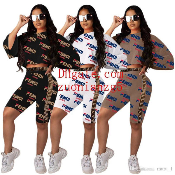 women Short Batwing Sleeve t-shirt shorts 2 piece set outfits Print Letter Tee Top tshirt bodycon pant sportswear Sports suit tracksuit