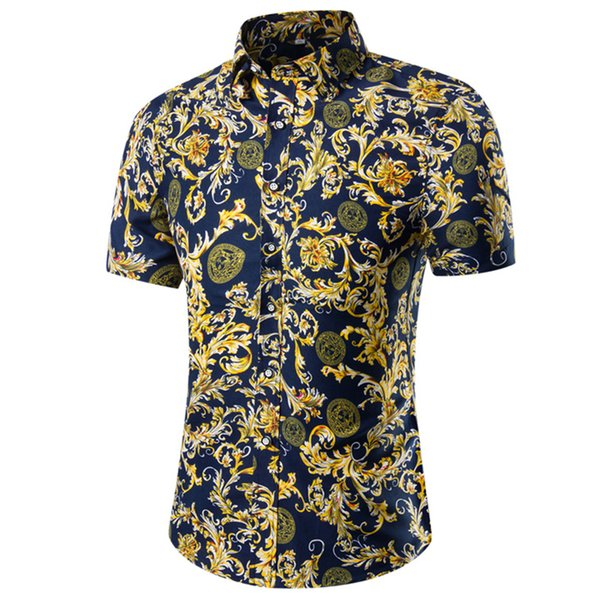 Party Cotton Blend Short Sleeve Floral Pattern Tops Casual Summer Fashion Slim Fit Travel Men Shirts Stylish Daily Pullover