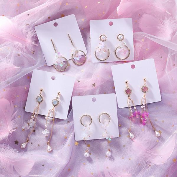 Korean Sweet Sequin Earrings For Women Long Dangle Flower Jewelry Earrings Shiny Girls Tassel Pendientes Simulated Pearl Brincos