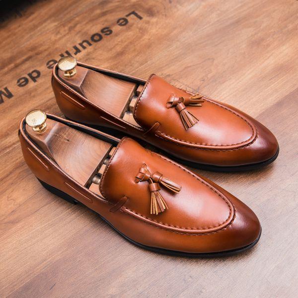 HEINRICH Elegant Shoes Men Italian Brand Tassels Mens Wedding Shoes Slip-On Man Dress Loafers Chaussure Homme Mariage