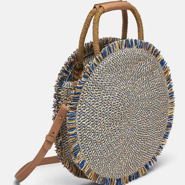 Fashion Designer Women Bags Straw Bag Woven Bag Tassel Large Capacity Round Shoulder Clutch Bali Beach Holiday Handbag