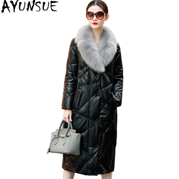 AYUNSUE 2018 Natural Sheepskin Coat Genuine Leather Jacket Long Winter Down Jacket For Women Real Fox Fur Collar Overcoat WYQ875