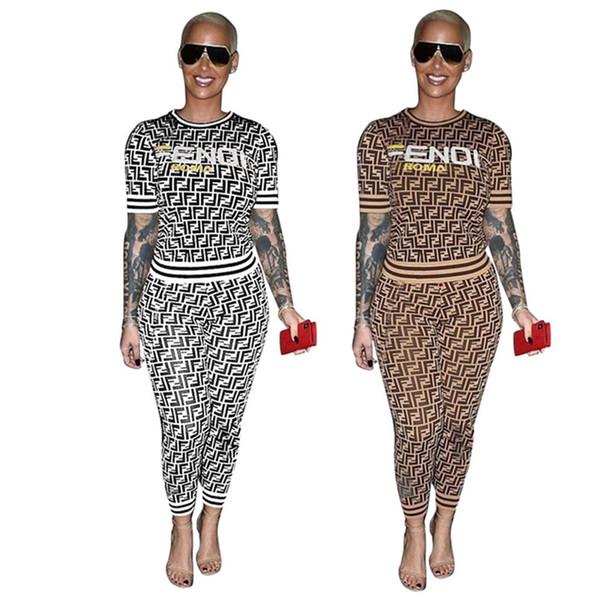 Mulheres 2 peça sports set jogging jogger terno sportswear moletom casual tshirt Pullover Bodycon leggings calças Plus Size Roupas de Verão 186