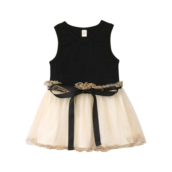 2019 Princess Baby Girls Dress Kids Wedding Party Outfit Bow Tulle Dresses Summer Pageant Infant Toddler Children Clothes 0-5T Color
