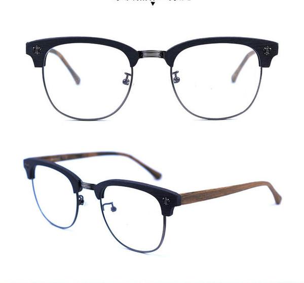 Brand Japan desgin half rimless men acetate wooden pattern Spectacle frame Myopia Designer Glasses prescription clear lens eyeglass A909