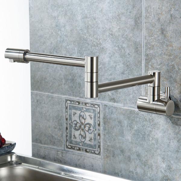 Pieghevole singolo rubinetto della cucina lavello Pot Filler Faucet acqua fredda montaggio a parete rubinetto rubinetti in ottone cromato spazzolato olio di nichel lucidato