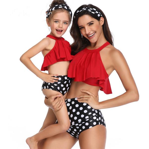 Traje de baño de la madre y la hija Traje de baño de mamá Conjuntos de bikini Ropa de brachas Mirada Mamá Vestidos para bebés Ropa Trajes a juego de la familia