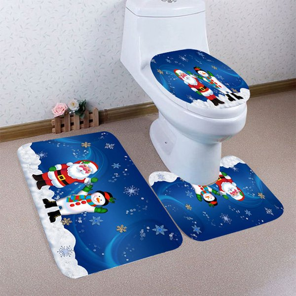 High Quality 2019 3PCS Christmas Bathroom Non-Slip Pedestal Rug + Lid Toilet Cover + Bath Mat Set Hot Sale