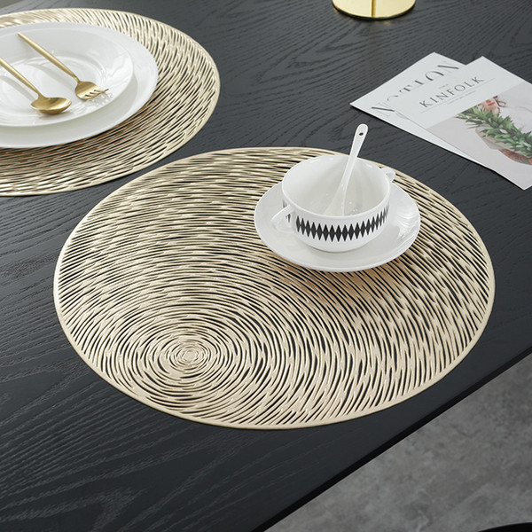 Gold Silvery Round Placemats Kitchen PVC Table Mats for Dining Table Drink Coasters Set Coffee Cup Pad Hotel Restaurant