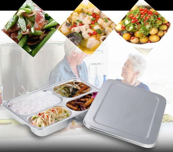 Poco costoso !!! Contenitore per alimenti in acciaio inox Bento Lunch Box con 4 scomparti con coperchio in metallo per studenti delle scuole