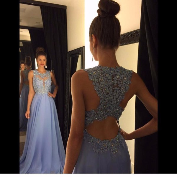 Linyixun Real Photo Sexy O Neck A Line Chiffon Lace Appliques Beaded Light Blue Long Prom Dresses 2017 Court Train Prom Gowns Y19042701