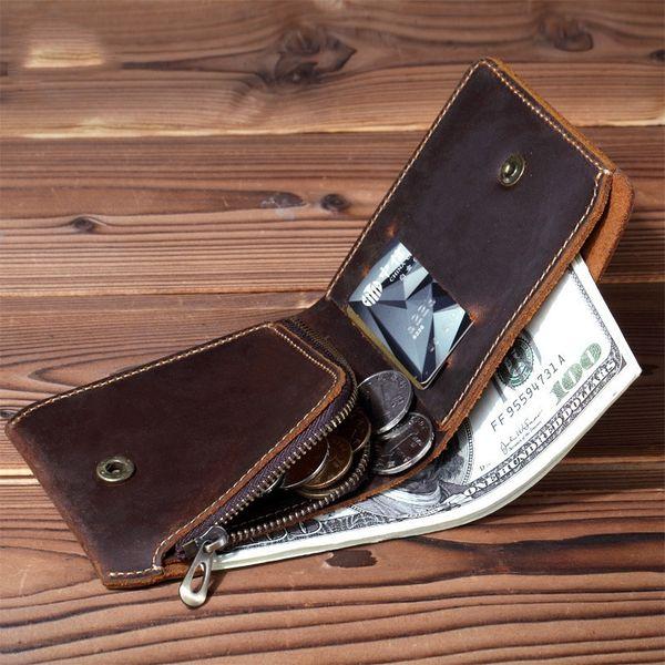 LEACOOL Hombres Vintage billetera de cuero con cremallera Coin Pocket hecho a mano corto monedero de cuero genuino para hombre diseño creativo # 529252